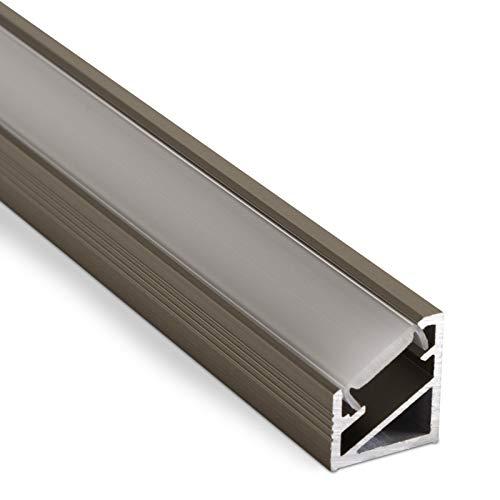3 Stück LED Profil-66 Edelstahloptik mit klarer Abdeckung 2000 x 14,5 x 16,5 mm für LED Streifen Aluprofil Eckprofil Stripes von SO-TECH®
