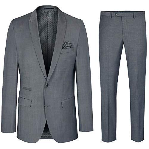 Paul Malone Herren Anzug grau Stretch - Slim Fit - Herrenanzug 2-teilig Sakko und Hose Gr. 28