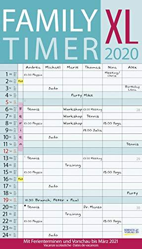XL Family Timer 2020: Familienplaner mit 6 breiten Spalten. Hochwertiger Familienkalender mit Ferienterminen, extra Spalte, Vorschau bis März 2021 und nützlichen Zusatzinformationen.
