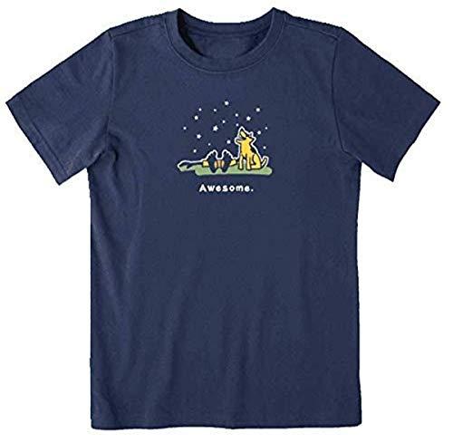 Life is Good Boys Vintage Crusher T-Shirt, Awesome Darkest Blue, Large