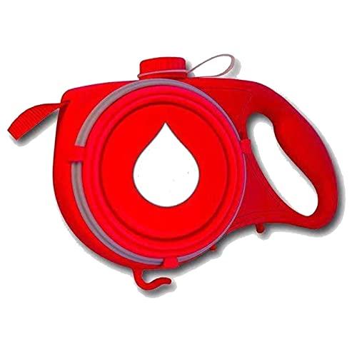 Correa para Perros sin enredos, con Cuenco Plegable y dispensador de Bolsas de residuos Botella de Agua incorporada Función 4 en 1 Línea para Perros (Color : Red)