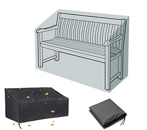 Copertura per panca da giardino a 2 posti, copertura per mobili da giardino, impermeabile, antivento, anti-UV, resistente, antistrappo, tessuto Oxford 420D (134 x 66 x 89 cm)
