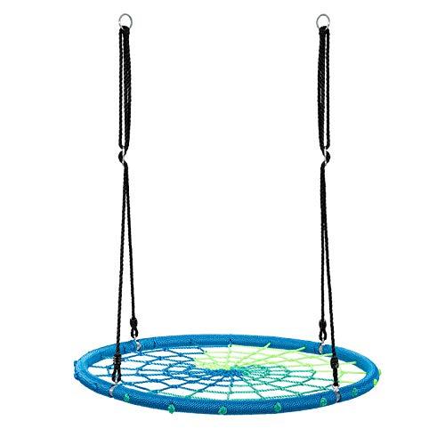 COSTWAY Columpio Nido de Ø100cm Cuerda Ajustable de 100-160cm Columpio Redondo de Niños para Interior y Exterior Jardín Parque Carga hasta 150kg (Azul)