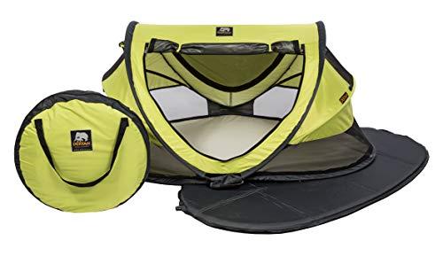 DERYAN Reisebett - Peuter Luxe - Zitrone - Pop-up-System - Einrichtung in nur 2 Sekunden - Inklusive Baumwollbezug mit Reißverschluss, selbstaufblasbarer Luftmatratze und Tragetasche