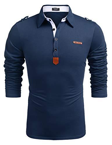 COOFANDY Herren Langarmshirt Poloshirt Freizeithemd Langarm Polo mit Kragen Leicht Bügelfrei Sommershirt Für Männer Blau L