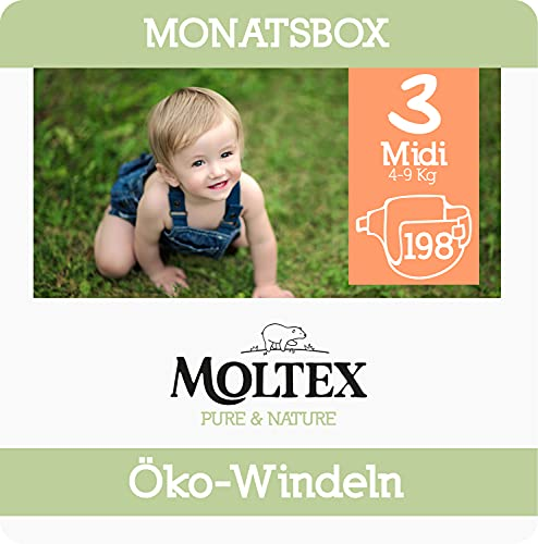 Moltex Pure & Nature Öko Windeln Größe 3 Midi (4-10 kg) Monatsbox 198 Bio Windeln