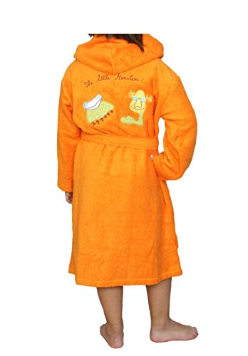 Albornoz Infantil, Rizo, 100% algodón, Naranja. 10