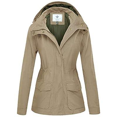 WenVen Women's Military Anorak Jacket Hoodie Utility Cotton Coat Khaki 2XL from