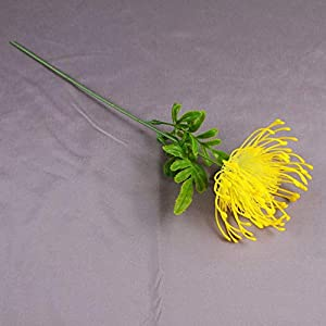 Artificial and Dried Flower 1pc Big Flower Head Artificial Flowers Protea Plastic Fake Flowers for Wedding Garden Home Party Decorations Artificial Plants – ( Color: Yellow )