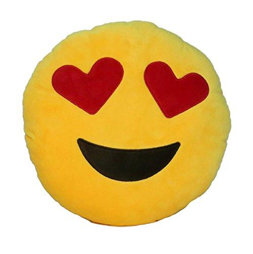 Well_goal Emoji, 32 cm, motivo: Smile-Cuscino rotondo Heart Eyes