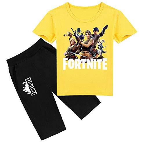 Stampa di cartoni animati 3D ragazzi e ragazze estate tempo libero vestito a maniche corte per bambini camicia a maniche corte tendenza maglietta a maniche corte per bambini + pantaloni (giallo, 120)