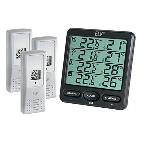 ELV Raumklimastation RS100, inkl. 3 Thermo-/Hygrosensoren mit LC-Display