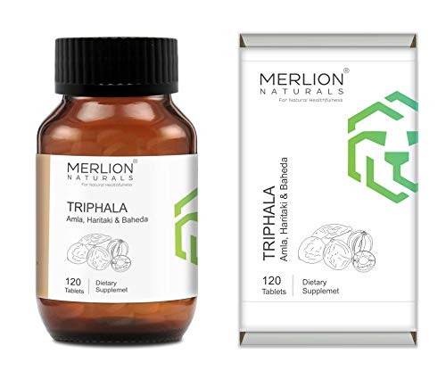 MERLION NATURALS Organic Triphala Tablets (Amla, Haritaki and Baheda) for Daily Detoxifying, Cleansing and Constipation, All Natural Pure Herbs (500mg x 120 Tablets)