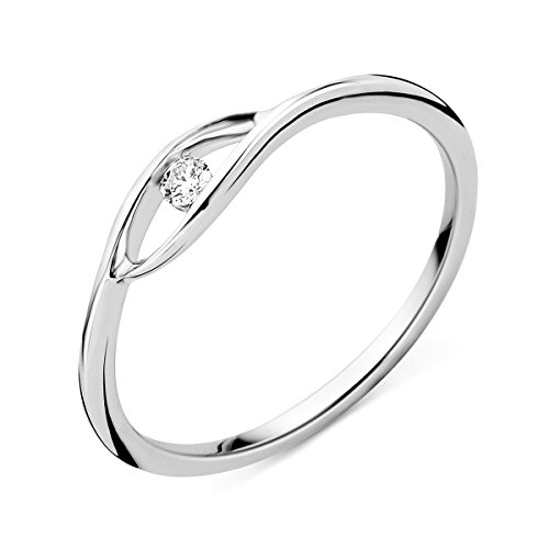Miore - Anello di fidanzamento da donna in oro bianco con diamante solitario, 9 carati (375), con brillante 0,05 ct e Oro bianco, 56 (17.8), cod. MSJ9037R56