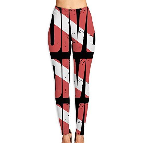 Abusss Yoga Fitness Spandex Palestra Leggings Sport Opaco, Women's Leggings Yoga Pants Dive Scuba Diving Flag High Waist Workout Sports Thin Capris