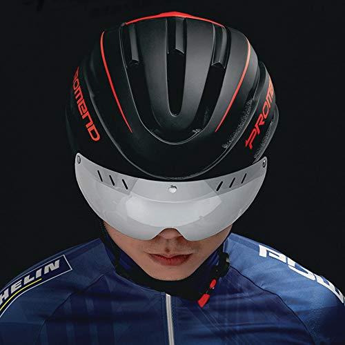 Casco de bicicleta para adultos jóvenes, casco de ciclismo de carretera para hombres con luz LED multimodo recargable por USB, tamaño ajustable, lente magnética desmontable