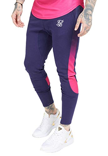 Sik Silk - SS-15361 Athlete Tech FADETRACK Pants Navy/Neon Fade- PANTALÓN para Hombre (S)