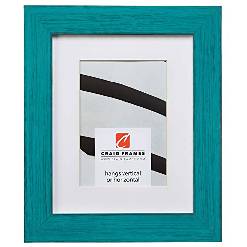 Craig Frames Jasper, 12 x 18 Inch Country French Teal Picture Frame Matted to Display a 10 x 13 Inch Photo