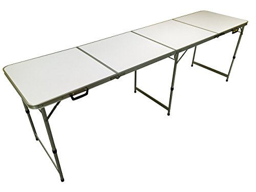 EazyGoods 8 Foot Folding 4 Section Table, MDF Top/Aluminium Frame, Multi-Colour, 240 x 60 x 70 cm