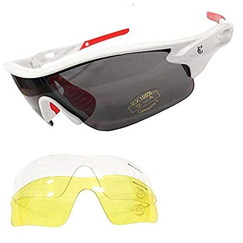 VeloChampion Warp Montatura Occhiali da Sole per Ciclismo (con 3 Lenti: incl. Sfumata, Trasparente) (Bianca)