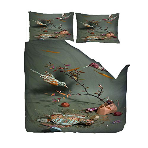 ZZZXX Duvet King Size Color Bird Bedding Set Easy Care Machine Wash Print Quilt Cotton And Polyester Fabric Cover Set Cotton With 2 Pillowcase,220X230