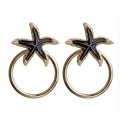 Fashion Circle Dangle Pendientes Colgando Metal largo Pendientes pendientes redondos para mujeres Temperament geométrico oreja joyería estrellas de mar