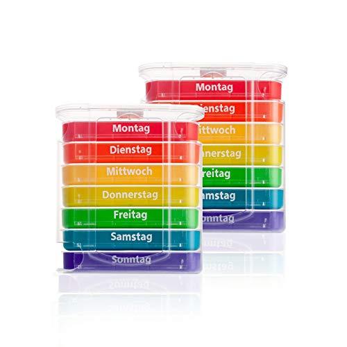 Pillendose 2 x 7 Tage, Pillenbox, Pillenturm, Medikamentenbox, Tablettenbox, Wochendispenser (2er Set bunt)