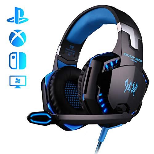 Auriculares Gaming, Galopar Cascos Gaming, Premium Stereo con Microfono Gaming Headset con 3.5mm Jack para PC - Azul