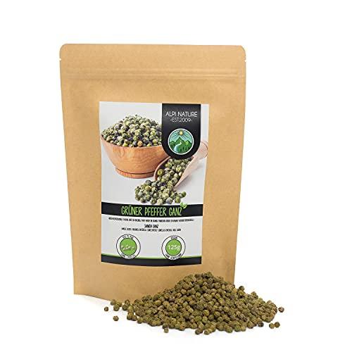 Pimiento verde entero (125g), pimiento verde 100% natural, sin aditivos, vegano, granos de pimienta verde
