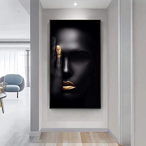KELEQI Leinwandmalerei Wandkunst schwarzgold afrikanische Frau Bilder Poster und Drucke Poster für Schlafzimmer...