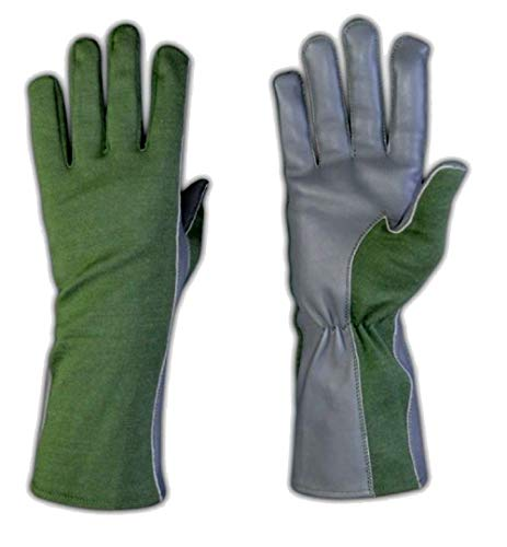 Nomex Flight Gloves Men Military Uniform Sheepskin Leather Aviator Pilot Gloves (XXL, Green)