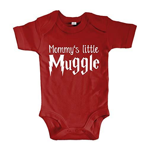 net-shirts Organic Baby Body mit Mommys Little Muggle Aufdruck Spruch Motiv süß Cute Strampler aus Bio-Baumwolle Inspired by Harry Potter, Größe 12-18 Monate, rot