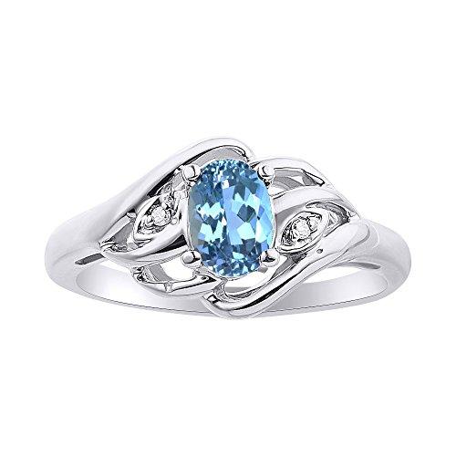 Juego de anillos de topacio azul y diamante en oro blanco de 14 quilates con piedra natalicia