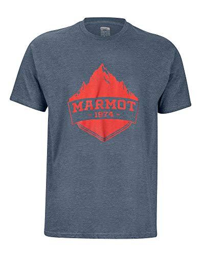 Marmot Mono Ridge Tee SS T-Shirt Manche Courte, Chemise de randonnée, Idéal pour Le Sport, la Gym, séchage Rapide, Respirant Homme Navy Heather FR: L (Taille Fabricant: L)