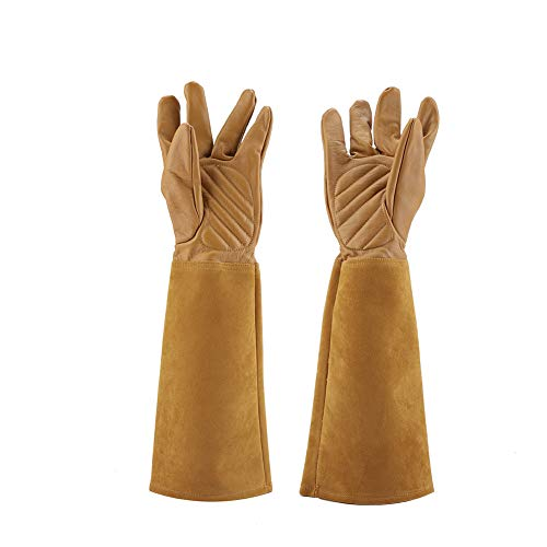 Gojiny Damen Leder Gartenhandschuhe Dornenschutz Lange Handschuh Ellenbogen Länge Frauen Rose Handschuhe