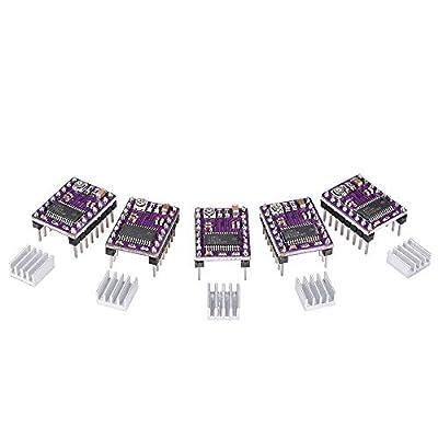 BIQU Equipment StepStick DRV8825 Stepper Motor Driver 4 Layer Module with Heat Sink (Header Pins Soldered) for 3D Printer Prerap Ramps A4988 (Pack of 5 pcs) (Drv8825)