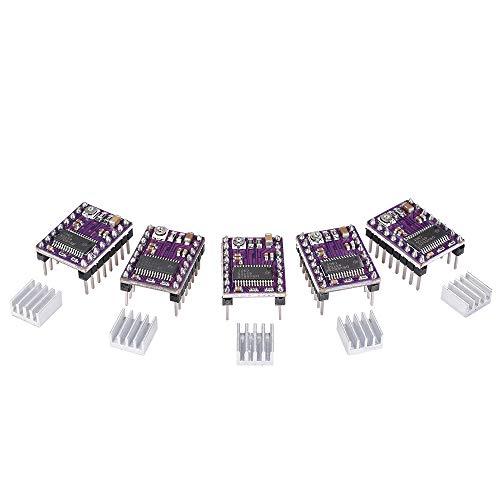 BIQU - Stepstick DRV8825- Driver per motore passo-passo 4 strati con dissipatore di calore (saldato con header pins) per stampante 3D A4988(confezione da 5pz), 5