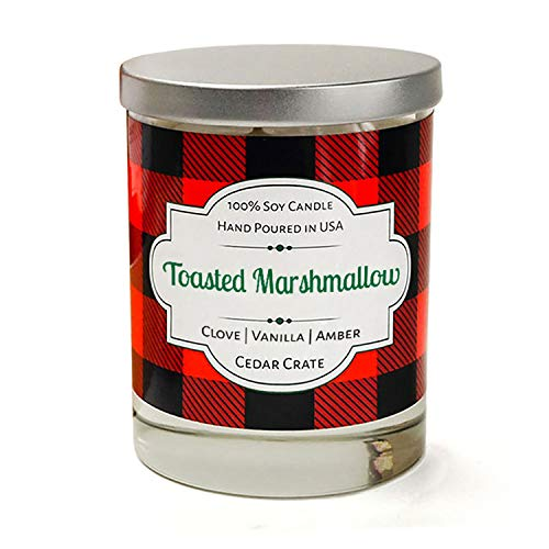 Toasted Marshmallow | Clove, Vanilla, Amber | Buffalo Plaid Luxury Scented Soy Candle | 10 Oz. Glass Jar Scented Candle | Made in the USA | Decorative Candles | Best Smelling Candles for Home