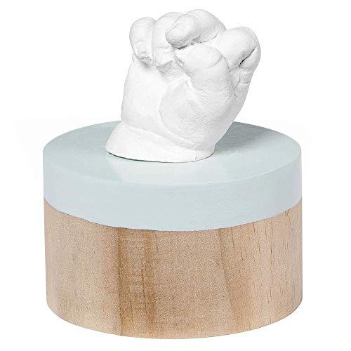 Baby Art - Hochwertiges Podest aus Holz inkl. 3D Gipsabdruck Set zum Selbermachen, einfach und schnell, für Handabdruck oder Fußabdruck Ihres Babys, My Very First 3D Sculpture on stand, crystalline