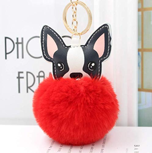 DOUFUZZ SNHPP Fluffy Rabbit Fur Ball Francés Bulldog Llavero Cuero Suave Pom Felpa Peluche Juguete Animal 10 * 8cm Rojo