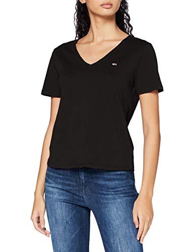 Tommy Hilfiger Tjw Slim Jersey V Neck Camiseta, Negro (Black), M para Mujer