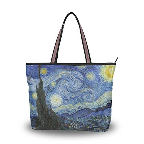 NaiiaN Borsa Shopping Borsa leggera Borsa a tracolla Chiefs Tote Bag Borse a spalla Van Gogh Notte stellata per le donne Ragazze Studentesse