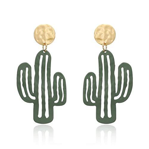 EXINOX Pendientes Cactus Verdes | Mujer | Desierto Cactus Dorado (Verde)