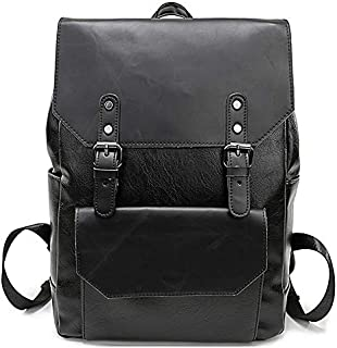 GYNSSJBB Simple Large Capacity Leather Backpack for Travel Office Men Backpack Fashion School Bag Black/Brown/Coffee (Color : Black)