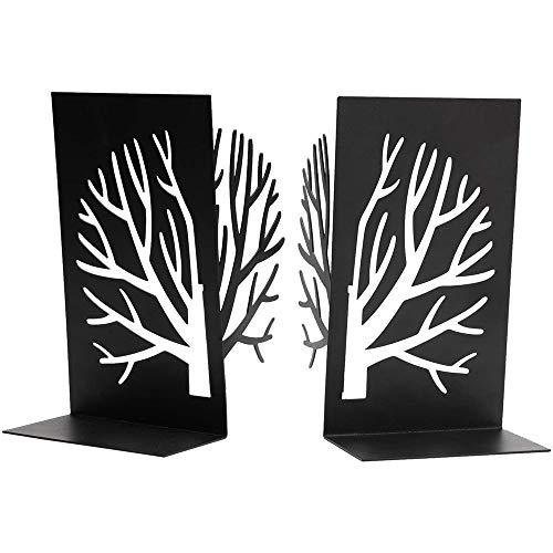 Timagebreze Sujetalibros, Sujetalibros para Libros Pesados, Sujetalibros Soporte de Estante para Libros Decorativo para el Hogar, Sujetalibros Negro 1 Par