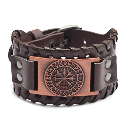 Pulsera de los hombres vintage de cuero ancho superficie de aleación implante pirata brújula pulsera mejor regalo regalo-PU_copper