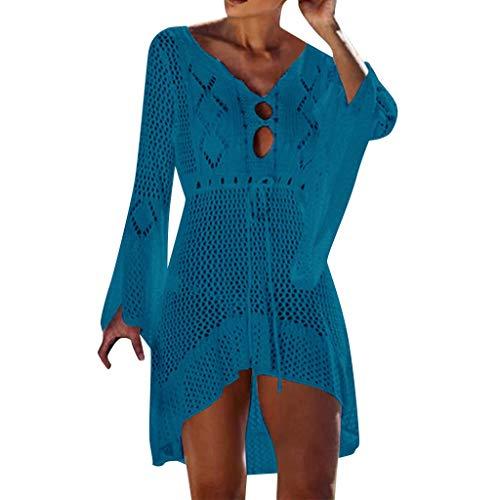 YWLINK Badeanzug Damen Hohl Pullover Lange Ärmel Sommer Sonnencreme Bluse Cover Up Bikini Bademode Stricken Strand(Blau,Einheitsgröße)