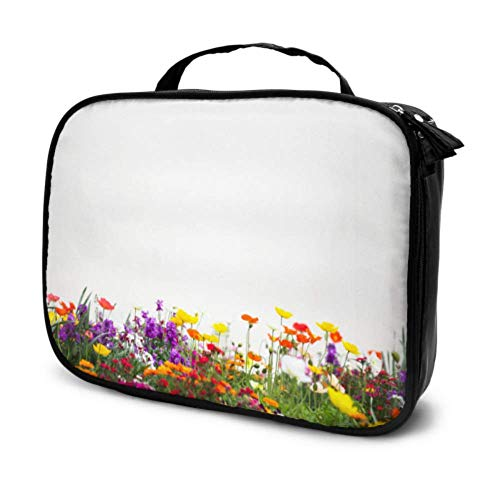 Flower Garden Travel Makeup Cases Trousse de Toilette Small Makeup Carrying Case Multifunction Printed Pouch for Women