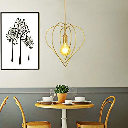 no-branded Sygjal Giratoria en Forma de corazón de Techo Minimalista Restaurante pequeño Lámpara de Oro lámparas LED de luz Caliente de la decoración del hogar Cafe Comedor Dormitorio 32 * 32cm