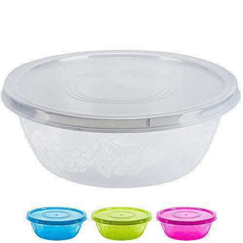 DecorRack - Ciotola da portata con coperchio, extra large, per pasta, insalata, snack, infrangibile, resistente, senza BPA, in plastica con coperchio ermetico, decorazione per feste 1 Pack